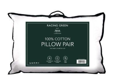 Racing Green 100% cotton pillow pair