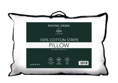 Racing Green 100% cotton stripe pillow